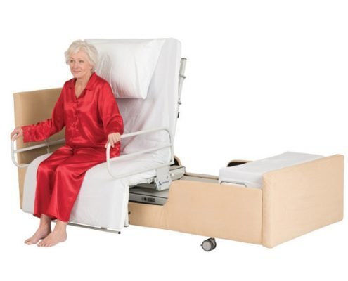 woman sitting on chair bed