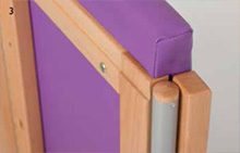 purple padding around wood frame