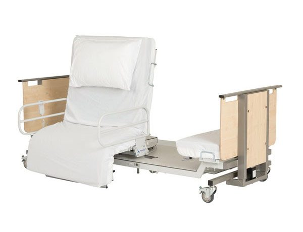 Low rotating rotoflex bed with white mattress