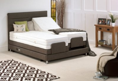 Beaumont adjustable brown double bed