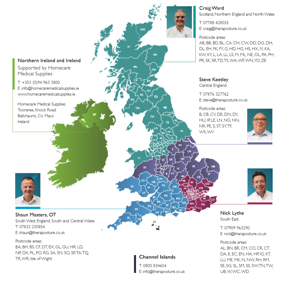 Theraposture trusted Assessor Map UK