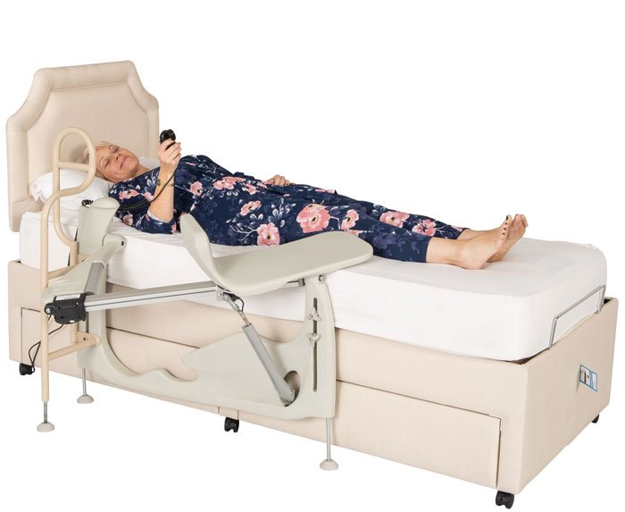 woman lying in bed with chair