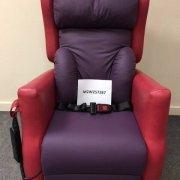 Purlple adjustable chair with lap belt