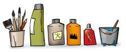 Illustrated paint pots
