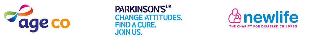 Ageco,parkinsons uk, MS society and Newlife partner logos
